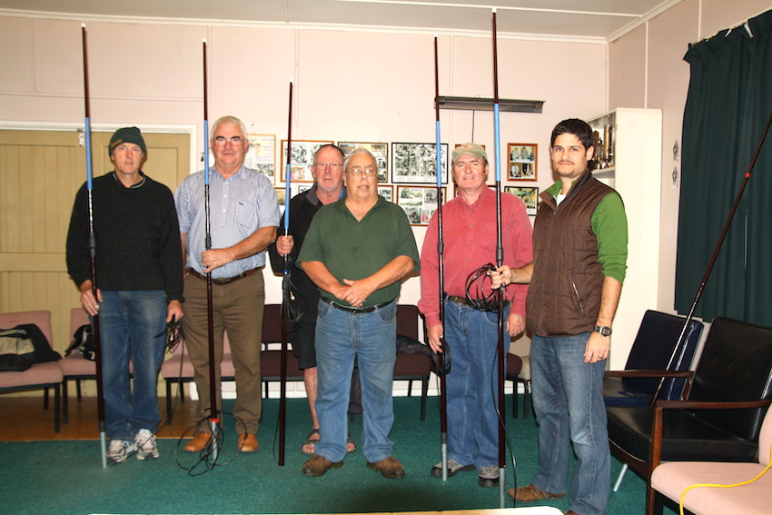 """(L - R) Rob ZL2SG, Dave ZL2MQ, Wally ZL2MO, Laurie ZL2TC, Michale ZL2MY and Shane ZL2PG having just completed the """"Q"""" Antenna Club Project construction night"""