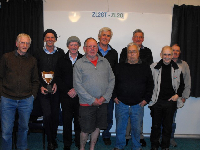 The new Executive for 2015 (L to R) Peter ZL2CD, Revell ZL2SS, Mike ZL2VM, Wally, ZL2MO, Karl ZL1TJ, Laurie ZL2TC, Lee ZL2AL and Michael ZL2MY