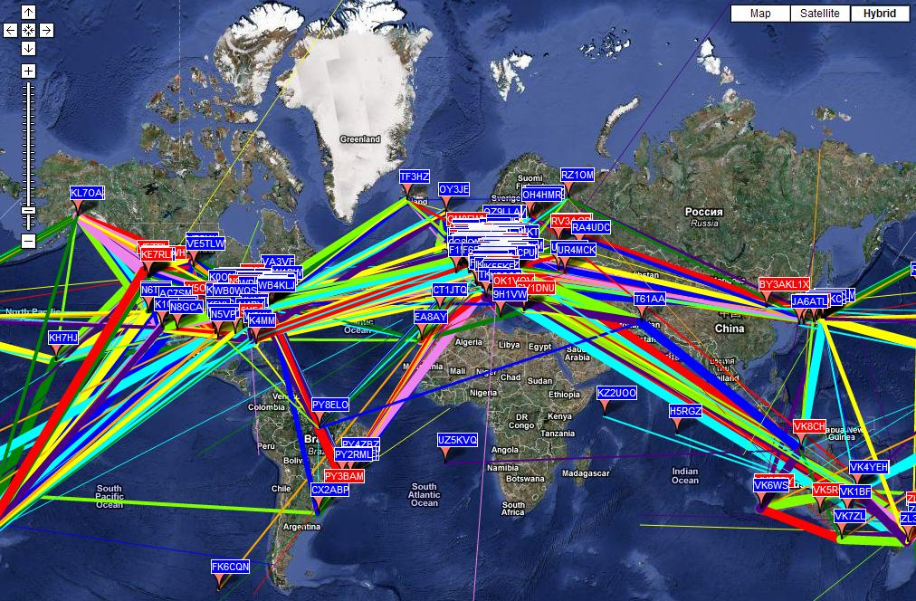 A WSPR Map in real time